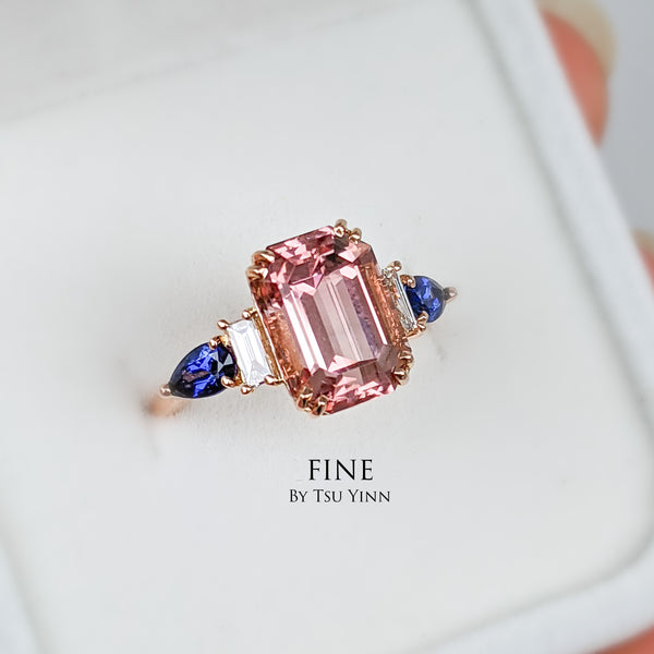 Pink Tourmline, white diamonds and blue sapphires ring