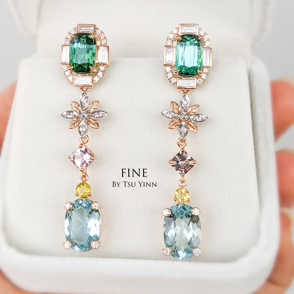 Tourmaline -Spinel-Aquamarine Long Drop Earrings