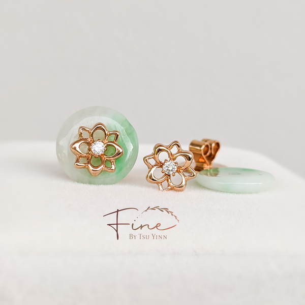Floral Long Stem Studs with White Diamond (II) - Rose Gold