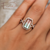RG bi colour tourmaline diamond halo criss cross ring