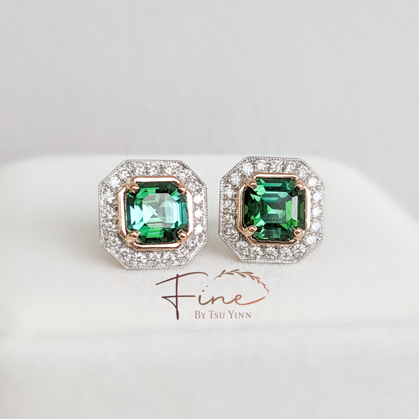 Audrey Earrings in Deep Green Tourmaline