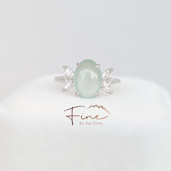 Pale Icy Green Jadeite Diamond Ring