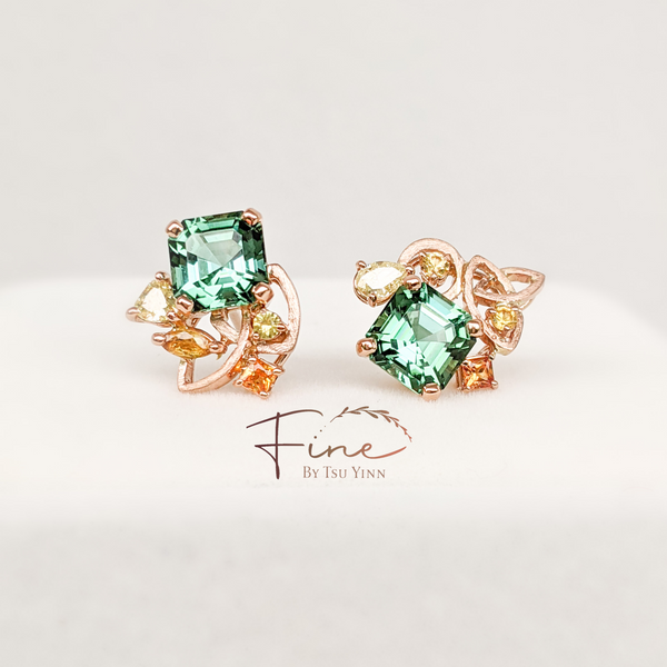 Green Tourmaline Earrings - with matt gold motifs, yellow diamonds and orange sapphires