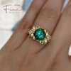 Green Tourmaline Floral Ring with Peridot and Diamonds