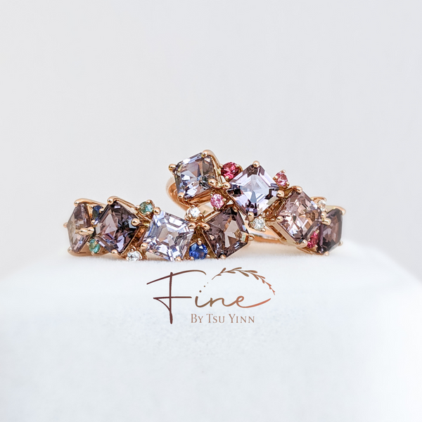 FBTY Messy Band Ring with Gradient Spinels (2 options)