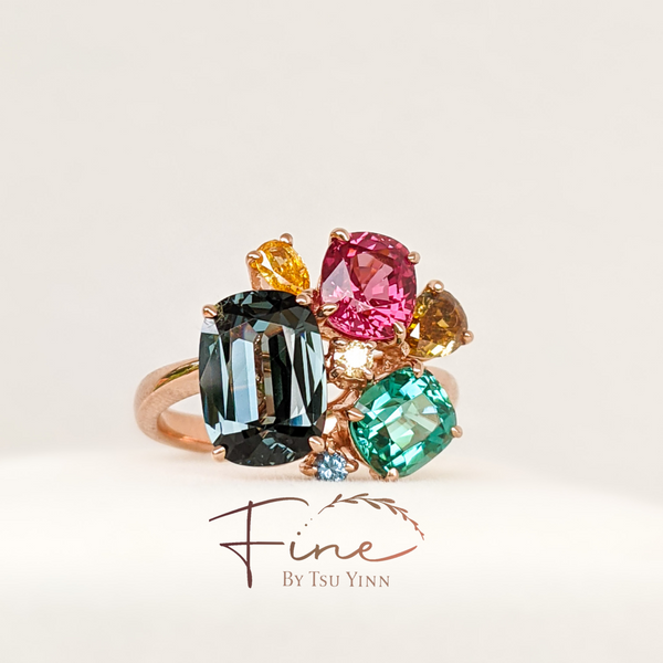 Cluster Ring: Grey Spinel, Pink Spinel, Lagoon Tourmaline, Cognac and Yellow diamonds