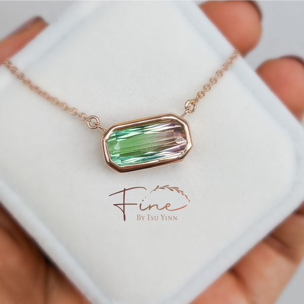 Necklace - Bi-colour tourmaline on 18k Rose Gold chain
