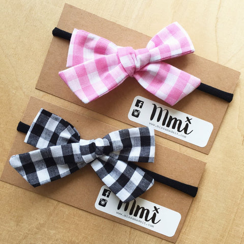 Gingham 'Big' Fabric Hair Bows (black or pink)