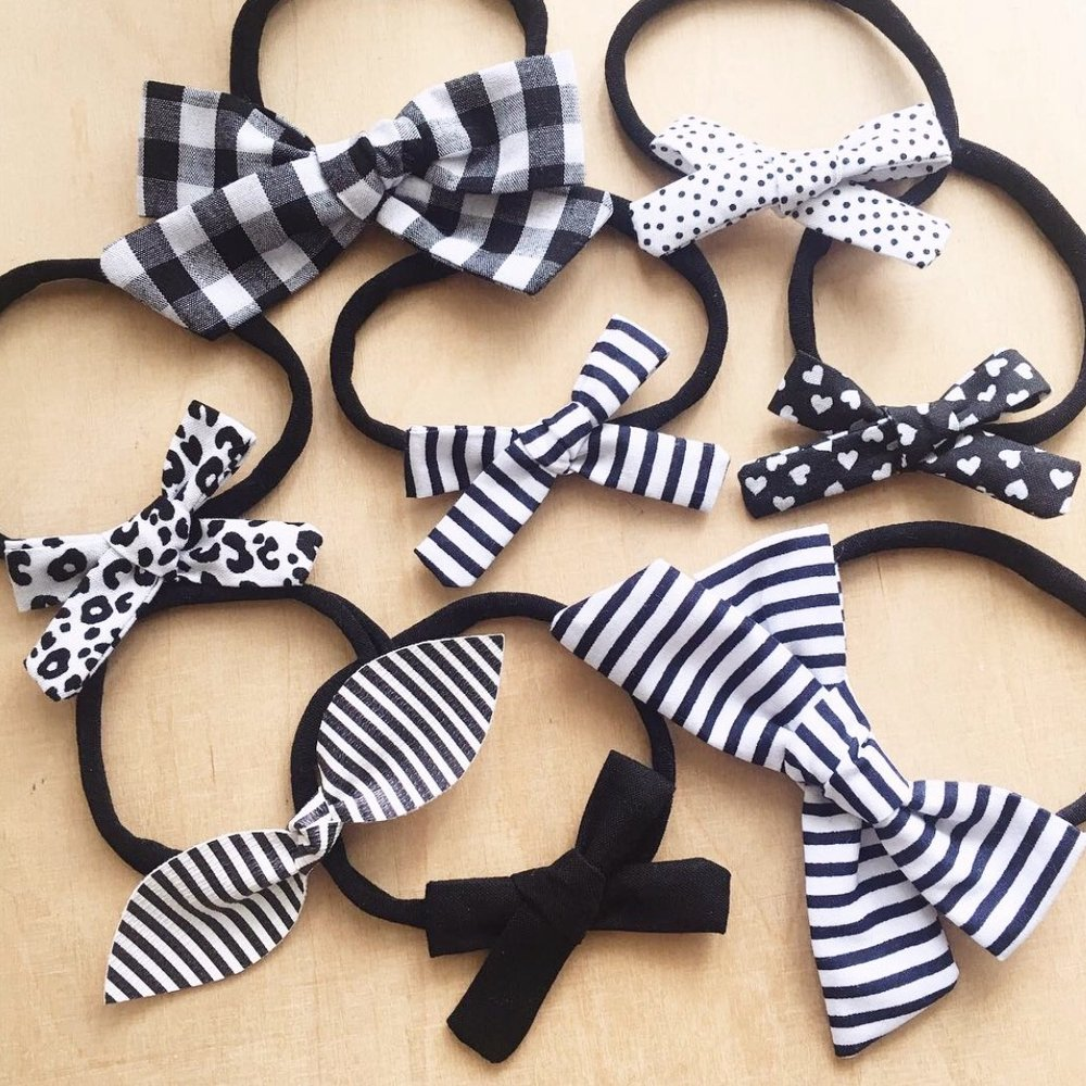 Gingham 'Big' Fabric Hair Bows (black or pink) - MissaMadeIt