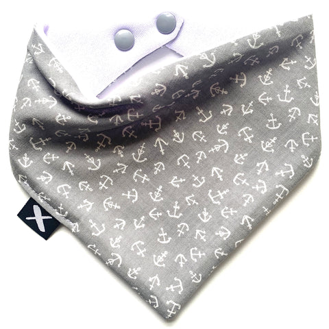 'GREY ANCHORS' Bandana Bib