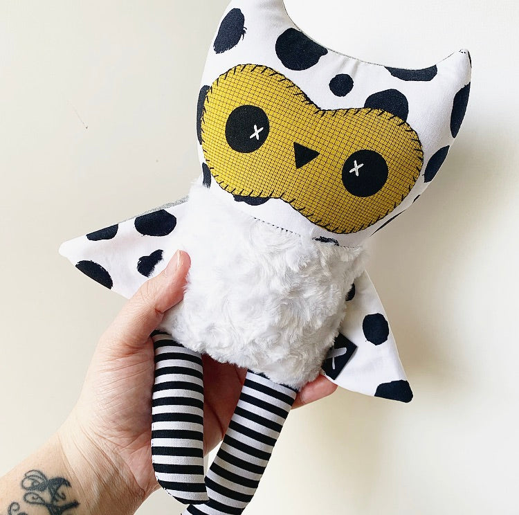 *NEW* ALFRED the Baby Owl Plushie (Polka Dots w/ Mustard)