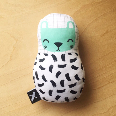 MINT BEAR 'Baby Babushka' organic cotton rattle