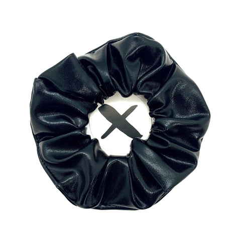 'BLACK LEATHER' Scrunchie