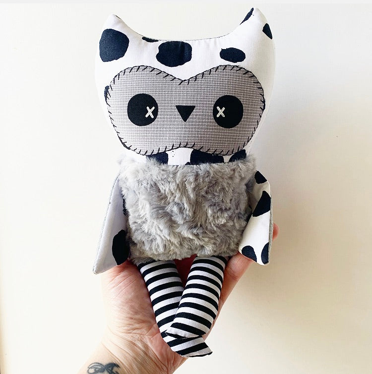 NEW Baby Owl Plushie (Polka Dots w/ Grey) Only ONE ready to ship!