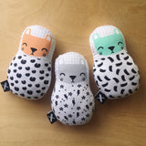 Mint Bear 'Baby Babushka' organic cotton rattle - MissaMadeIt