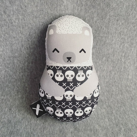 BEAR BONES 'Baby Babushka' organic cotton rattle