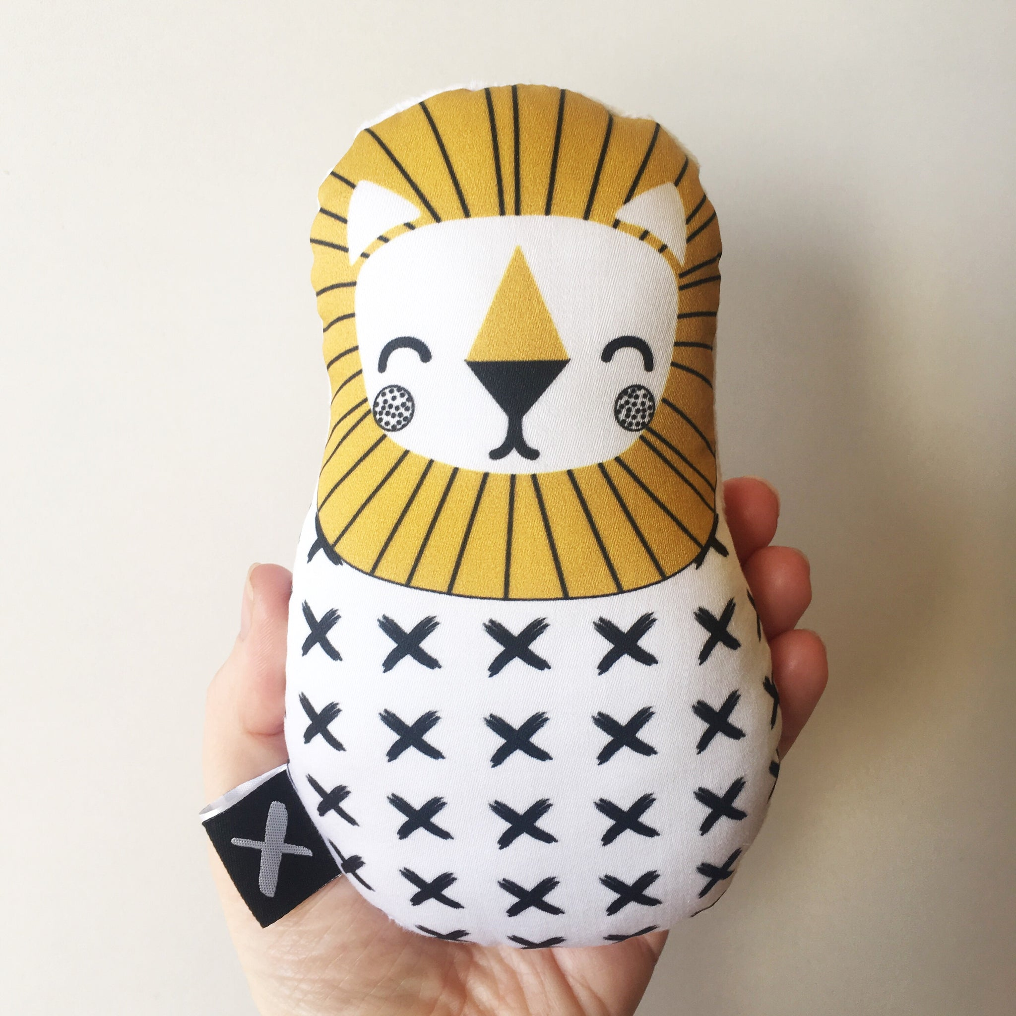 MUSTARD LION 'Baby Babushka' organic cotton rattle