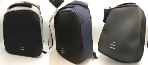 3 colours for the antitheft backpacks