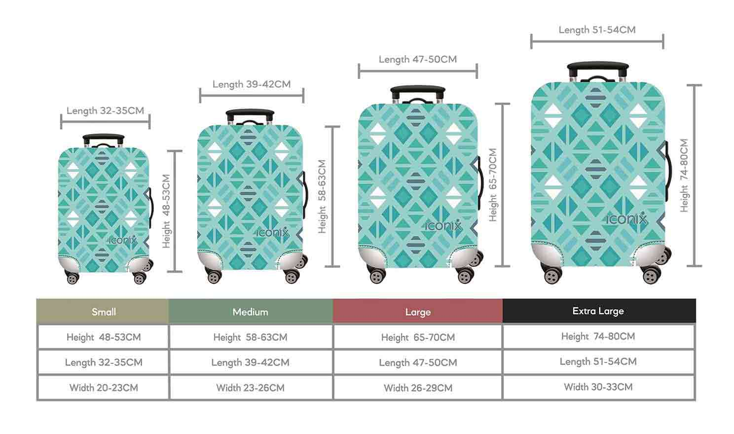 Size Chart for Iconix Blue Diamonds Printed Luggage Protector