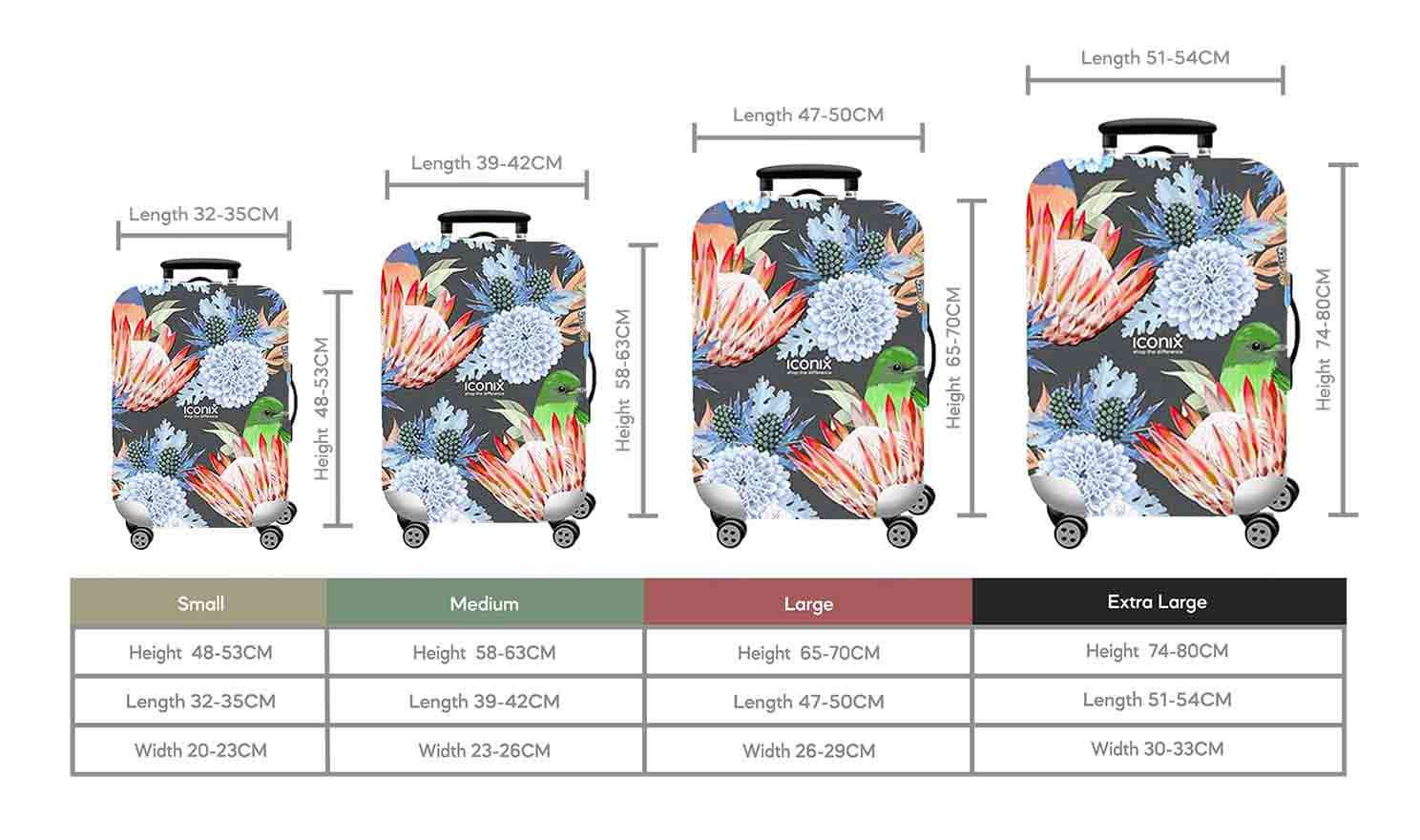 Size Chart for Iconix Floral Festival Printed Luggage Protector