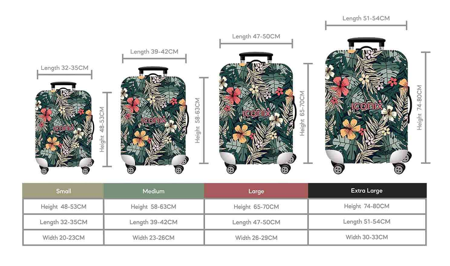 Size Chart for Iconix Forest Fun Printed Luggage Protector