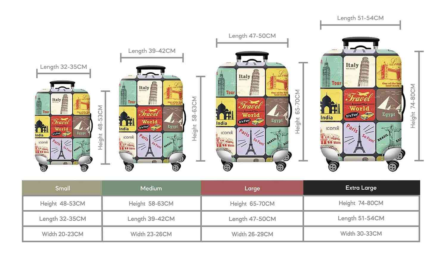Size Chart for Iconix Landmark Travel Printed Luggage Protector