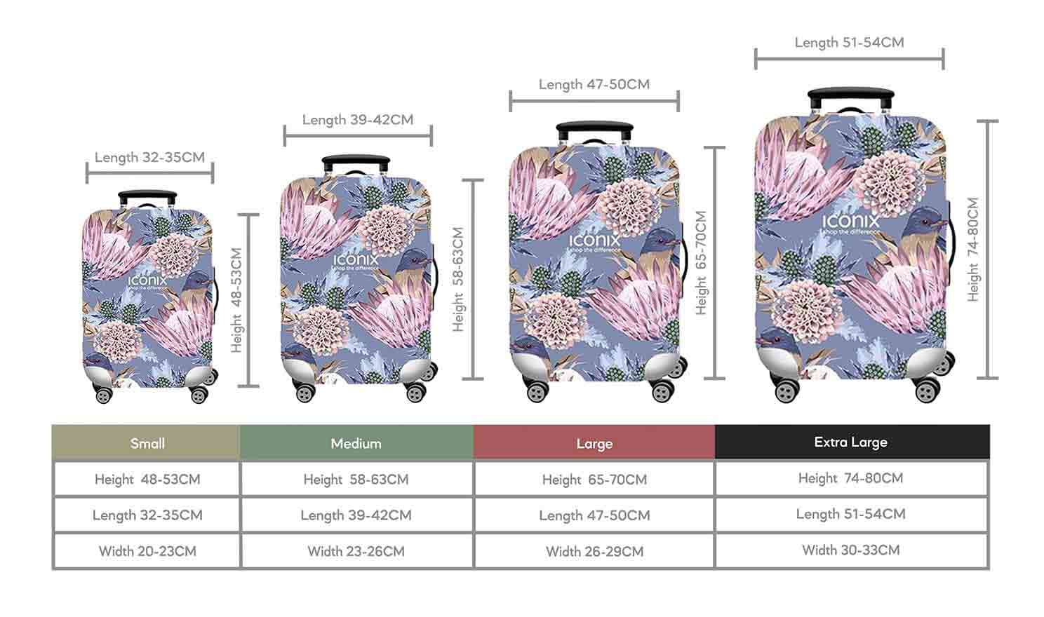 Size Chart for Iconix Lilac Love Printed Luggage Protector
