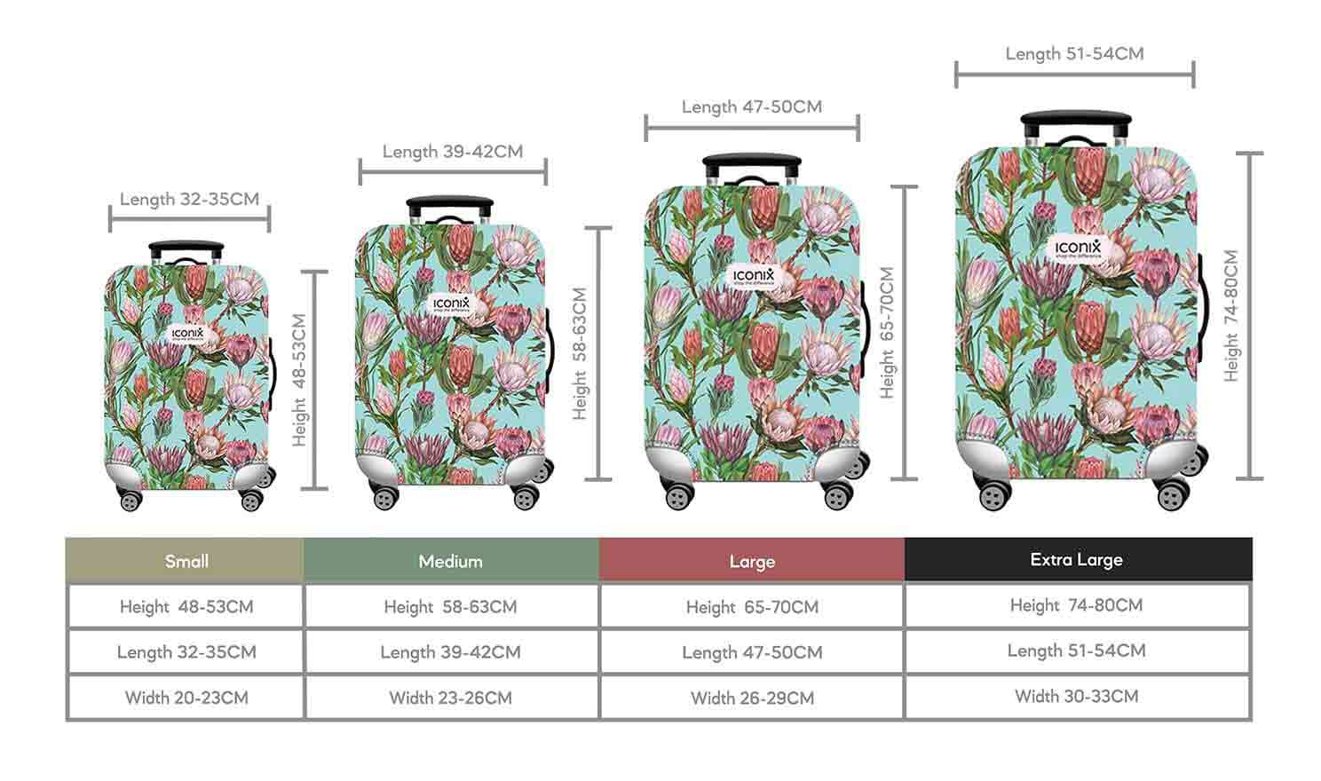 Size Chart for Iconix Pink Protea Printed Luggage Protector