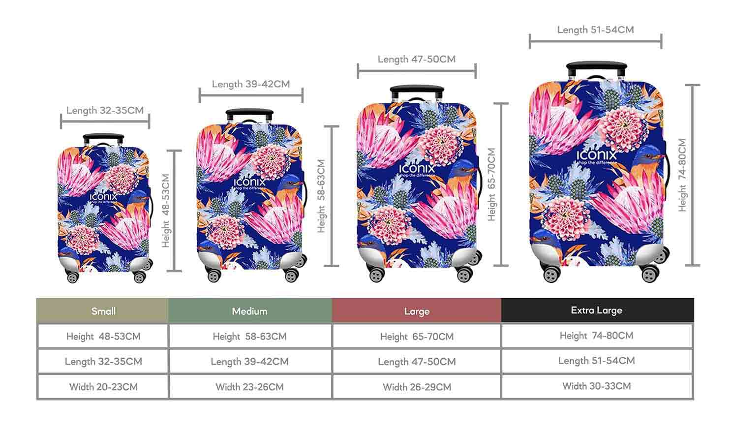 Size Chart for Iconix Power Blue Protea Printed Luggage Protector