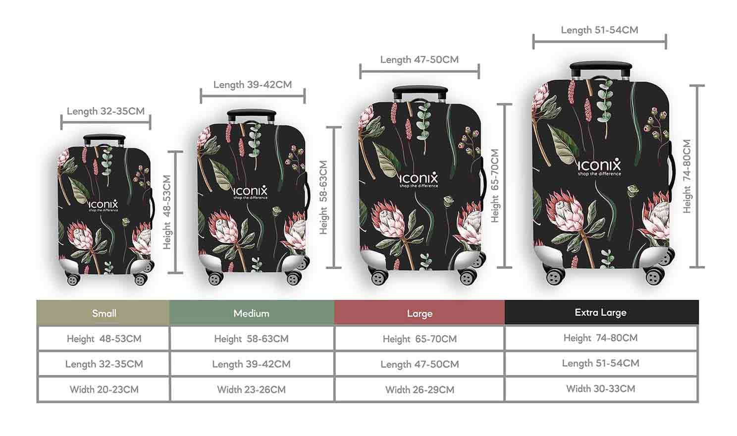 Size Chart for Iconix Protea Beauty Printed Luggage Protector