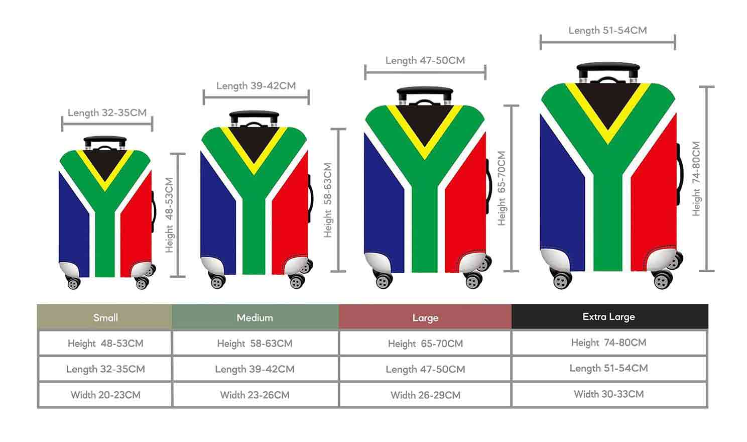 Size Chart for Iconix South Africa Printed Luggage Protector