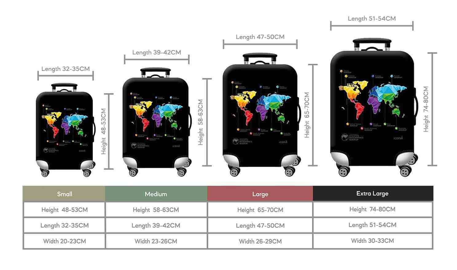 Size Chart for Iconix World Map Printed Luggage Protector