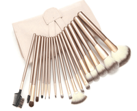 12 Piece Champagne Gold Makeup Brushes Set Iconix