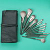 14-Piece Dark Green Brush Set with Pouch Makeup Brush Iconix