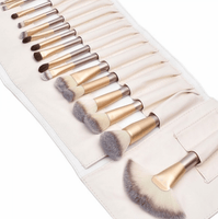24 Piece Champagne Gold Makeup Brushes Set Iconix