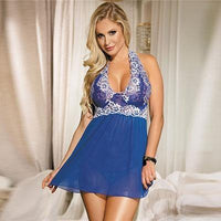 Halter Lace Patchwork Lingerie Set - Blue - R80003-2 Iconix