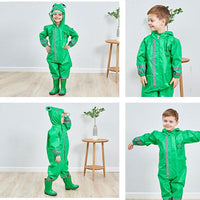 Kids One Piece Animal Raincoat - Green Frog Iconix