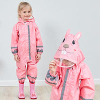 Kids One Piece Animal Raincoat - Pink Rabbit Iconix