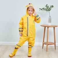 Kids One Piece Animal Raincoat - Yellow Giraffe Iconix