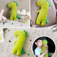 Kids Soft Stuffed Travel Pillows With Seat Belt Covers - Dinosaur Iconix