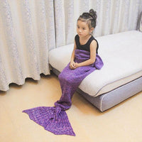 Mermaid Tail Blanket (Kids Size) Pink, Blue and Purple | 788 Iconix Purple