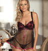 Mesh Black Transparent Babydoll With Red Ribbon Lingerie - R79226 Iconix