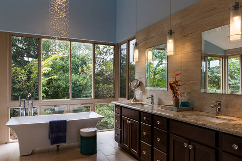 Natural design bathroom with cabinet