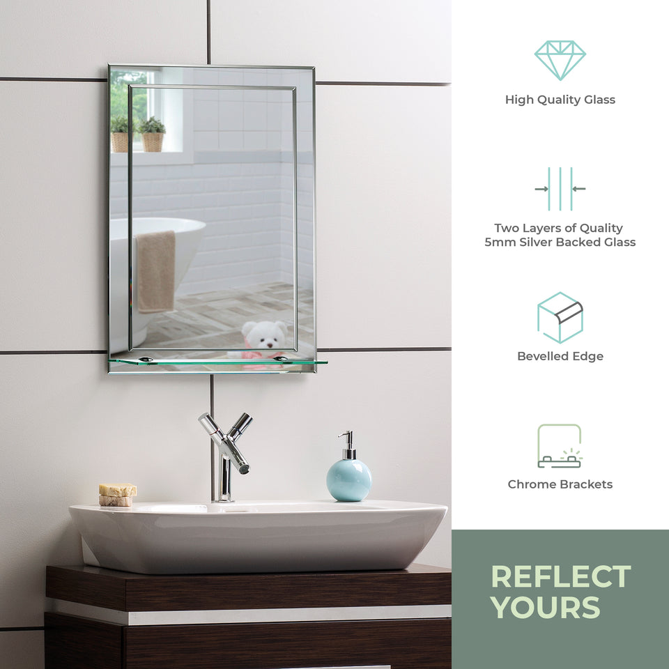 Rectangular Bathroom Mirror with Shelf 3 Sizes 70Hx50Wcm, 60Hx43Wcm, 50Hx40Wcm