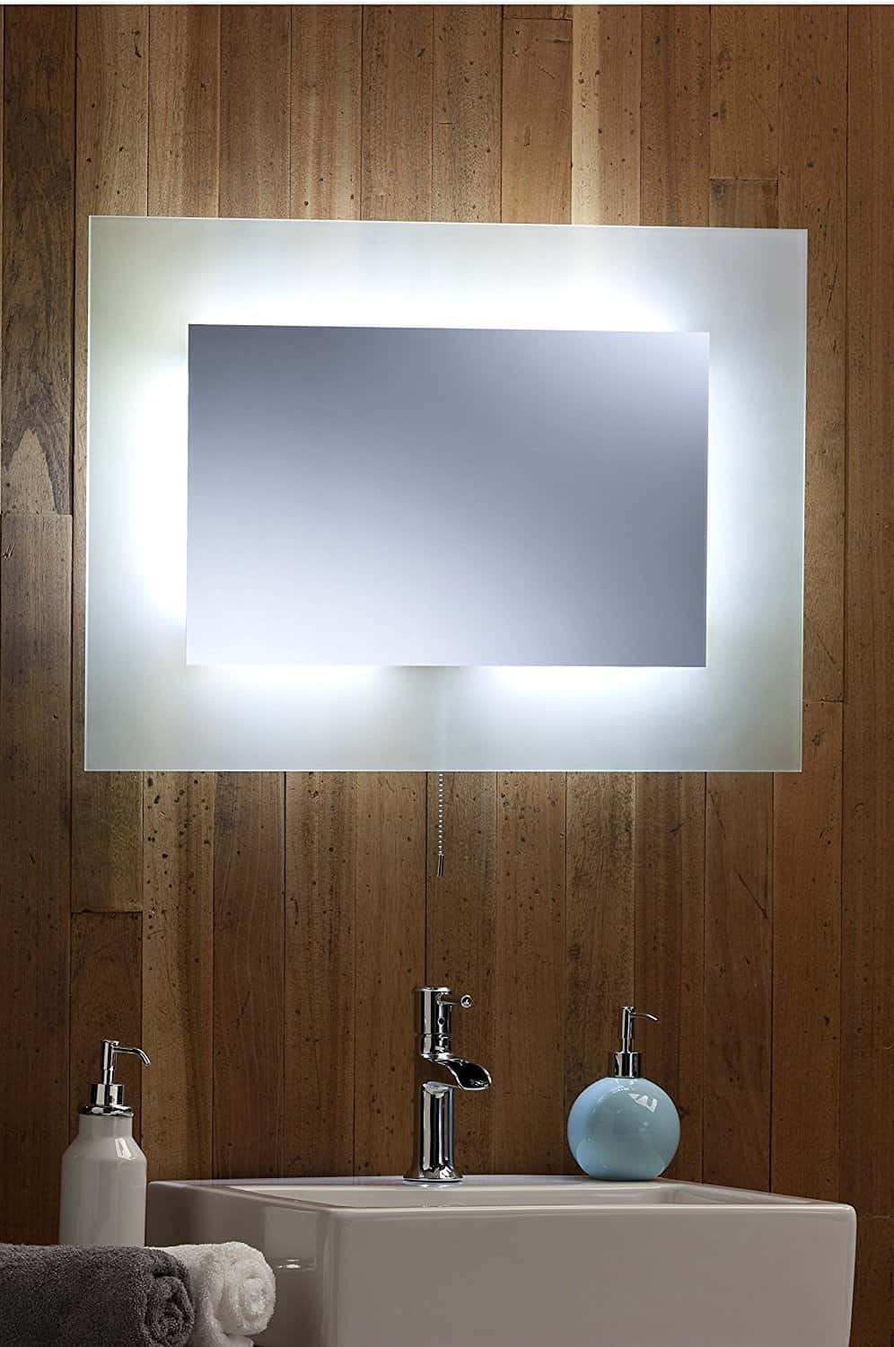 rectangular mirror illuminated bathroom
