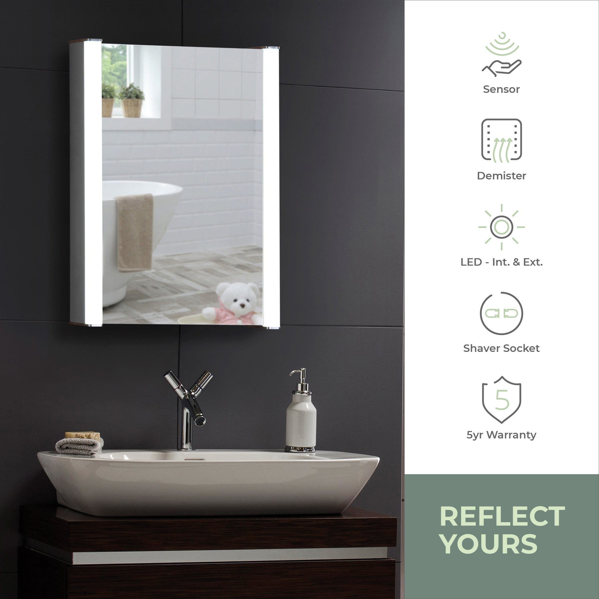 LED Illuminated Bathroom Mirror Cabinet CABM11: Size-70Hx50Wx16Dcm
