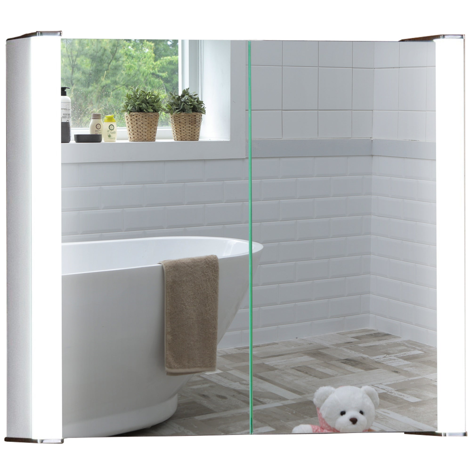 LED Illuminated Bathroom Mirror Cabinet CABM12 Size-60Hx65Wx16Dcm