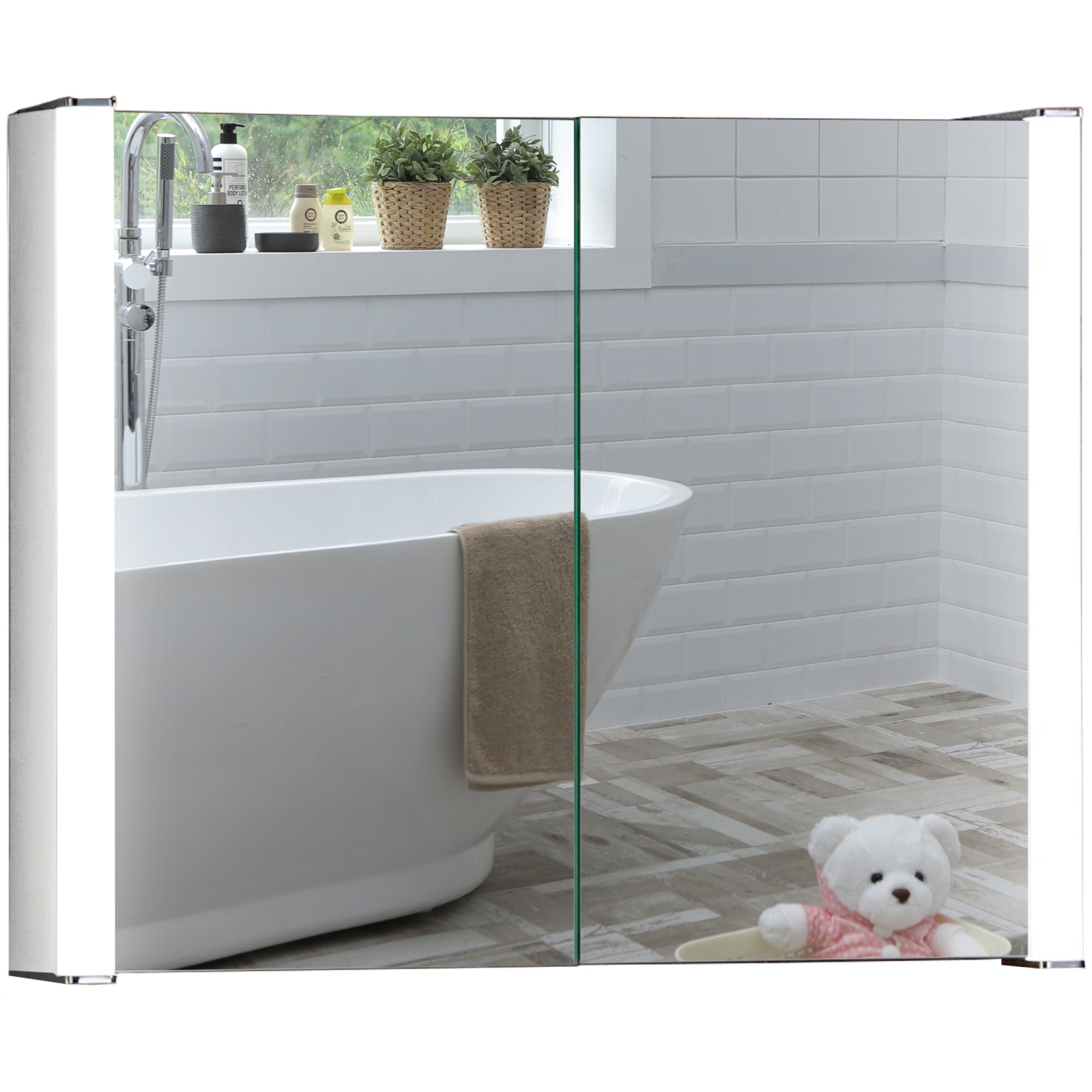 LED Illuminated Bathroom Mirror Cabinet CABM13 Size 65Hx80Wx16Dcm