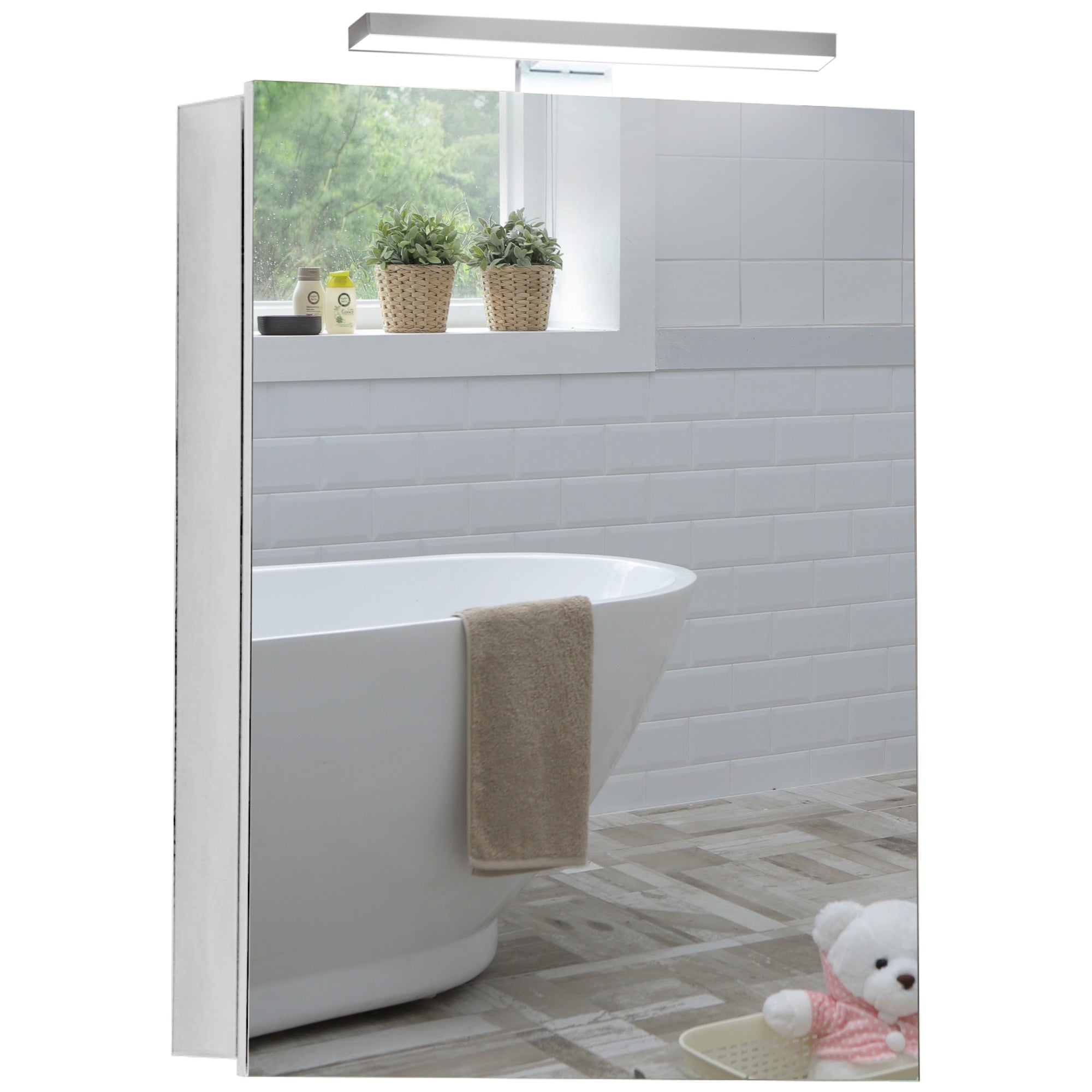 Illuminated Bathroom Mirror Cabinet CABM25 Size 70Hx50Wx15Dcm