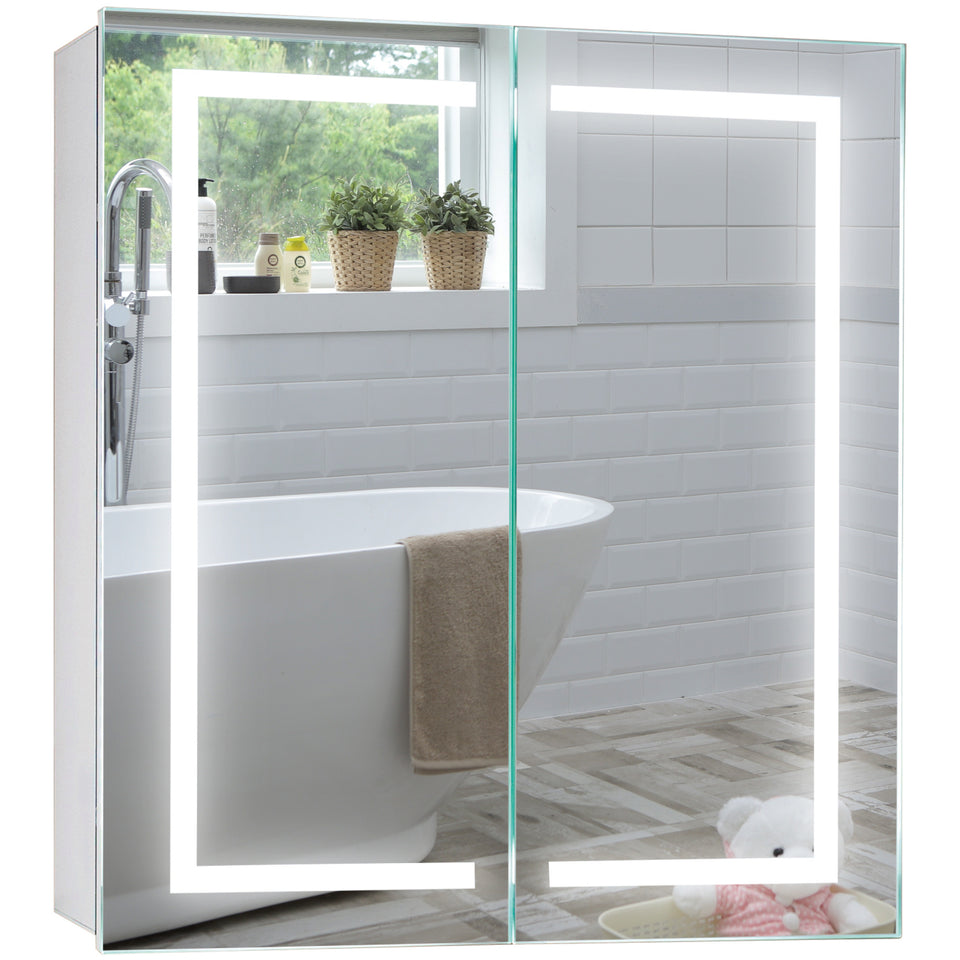 Led Illuminated Bathroom Mirror Cabinet CABM28 Carina Size 70Hx65Wx15Dcm